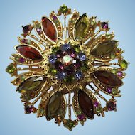 Stunning Jeweled Austrian Crystal Gold Plated Sparkling Vintage Brooch Pin