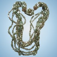 1950s Multi Eight Strand Pastel Green and Gold Plastic Beaded Vintage Necklace