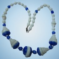 Fabulous Art Deco Cobalt Blue White Glass Step Design Iconic Vintage Necklace