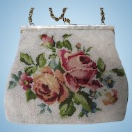 Gorgeous Hand Made Roses Needlepoint Beaded Special Occasion Vintage Evening Bag Purse