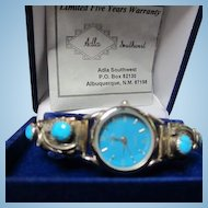 Signed Adla Navajo Turquoise Sterling Silver Native American Southwest NOS Watch Signed