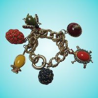 Turtle Mouse Owl Bug Figural Statement Charm Bracelet
