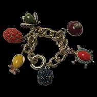 Fabulous Quality Turtle Mouse Owl Bug Colorful Stones Vintage Figural Statement Charm Bracelet