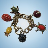 Fabulous Quality Turtle Mouse Owl Bug Colorful Stones Vintage Figural Statement Charm Bracelet