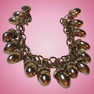 Wonderful Acorn Gold Plated Vintage Figural Charm Bracelet
