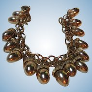 Wonderful Acorn Gold Plated Vintage Figural Charm Bracelet