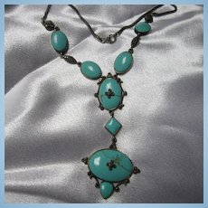 Magnificent Turquoise Marcasite Sterling Silver Vintage Necklace