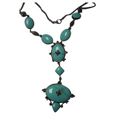 Magnificent Turquoise Marcasite Sterling Silver Y Necklace