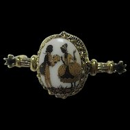 Romantic Courting Couple Cameo Classic Limoges Vintage Bar Pin Brooch