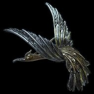 Signed ART Bird of Paradise Gold and Silver color Articulated Wing Figural Vintage Brooch Pin