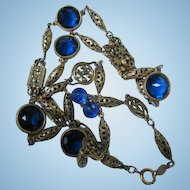 "Stunning Accessocraft NYC Signed Cobalt Blue Filigree 32"" Renaissance Style Sautoir Vintage Gold Plated Necklace"