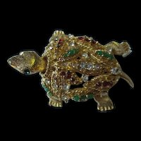 Fabulous Jeweled Trembler Gold Plated Turtle Figural Brooch Pin