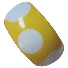 Yellow Lucite White Polka Dot Infused Wide Vintage Bangle Bracelet