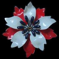 Patriotic Red White Blue Enamel Flower Power 1960s Brooch