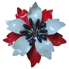 Patriotic Red White Blue Enamel Flower Power 1960s Vintage Brooch Pin
