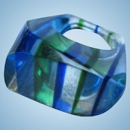 Fabulous Asymmetrical Mod Lucite Blues Greens 1960s Vintage Ring