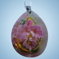 Lovely Lavender Orchid Reverse Painted Lucite Teardrop Pendant Sterling Silver Vintage Necklace