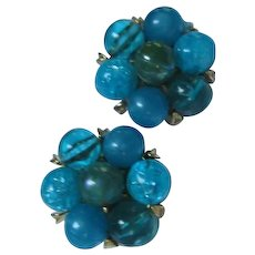 Gorgeous Kramer NY Signed Shades of Blue Vintage Clip Earrings