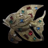 Fabulous Jewel Studded Textured Angel Fish Vintage Figural Brooch Pin