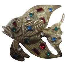Fabulous Jewel Studded Textured Angel Fish Vintage Figural Brooch Pin