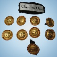 Authentic Christian Dior CD One Inch Vintage Buttons Original Label