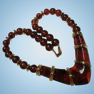 Fabulous Napier Signed Translucent Amber Lucite Vintage Necklace