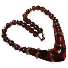 Fabulous Napier Signed Translucent Amber Lucite Vintage Necklace