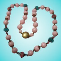 Pastel Pink Blue 1950s Lucite Summer Vintage Necklace
