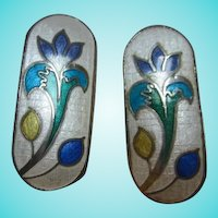 Gorgeous Guillioche Enamel Scandinavian Style Elongated Flower Vintage Clip Earrings