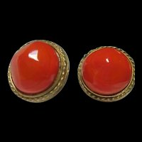 Nettie Rosenstein Stunning Orange Art Glass Gold Plated Vintage Clip Earrings Signed 1950s