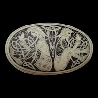 Rare Artist Etched Oval Porcelain Art Nouveau Design Male Female Birds Vintage Brooch Pin