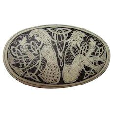Rare Artist Etched Oval Porcelain Art Nouveau Design Male Female Birds Vintage Brooch Pin