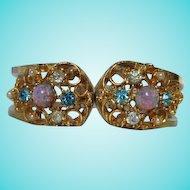 Gorgeous Fiery fx Opal Aquamarine Clear Crystal Rhinestone Bracelet