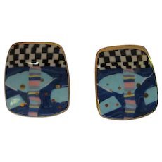 Hand  Made Abstract Artist Painted Enameled Ceramic Vintage Post Earrings