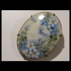 Victorian Hand Painted Flowers Porcelain C Clasp Brooch