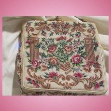 Stunning Hand Made Floral Petitipoint  Evening Bag Edwardian Era Pocketbook