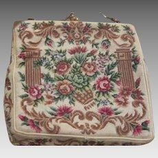 Stunning Hand Made Floral Petitipoint  Evening Bag Edwardian Era Vintage Bag Pocketbook
