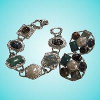 Gorgeous Signed Art Glass fx Baroque Pearl Silver tone Vintage Bracelet Earrings Excellent Rare