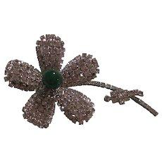 Magnificent Dazzling Diamond like Crystal Rhinestones fx Green Jadeite color Teardrop Piston Flower Statement Runway Couture Vintage Brooch Pin