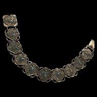 Antique Chinese Enamel Silver Figural Plaque Rare Bracelet
