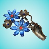Fabulous Art Deco Hand Blue Flowers Statement Vintage Brooch Pin