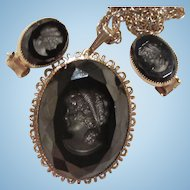 Lovely Hematite Glass Intaglio Cameo Faceted Vintage Demi Parure Set Pendant on Chain Matching Clip Earrings
