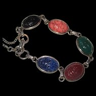 Art Deco Era Coro Signed Large Egyptian Revival Glass Scarab Bracelet