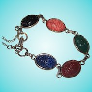 Art Deco Era Coro Signed Large Egyptian Revival Glass Scarab Bracelet