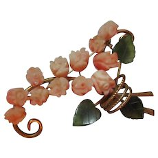 Gorgeous Natural Coral Carved Flowers Jade Swoboda Vintage Brooch Pin