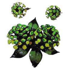 Stunning Green Enamel 1960s Japanned Flower Figural Vintage Brooch Pin Earrings Set Demi Parure