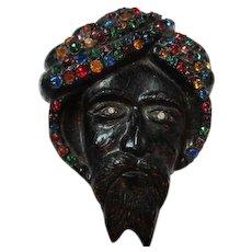 Rare 1930s Art Deco  Huge Carved Bog Wood or Syroco Blackamoor Figural Swami Colored Rhinestone Turban Vintage Statement Brooch Pin