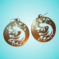Gorgeous Vermeil Sterling Silver Peacock Earrings