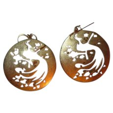 Gorgeous Art Deco Style Vermeil Sterling Silver Artist Hand Made Peacock Stencil Vintage Earrings 925 French Hooks