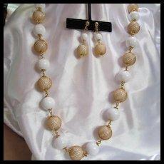 Trifari Stunning  Mesh Caged Necklace Earrings Demi Parure Set
